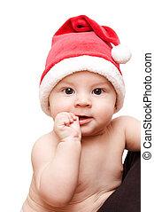 baby in santa's cap