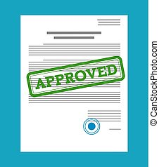 Approved paper document, green approved stamp. Vector...