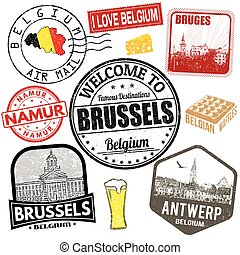 Belgium travel stamps set