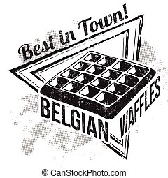 Belgian Waffles sign or stamp on white background, vector...