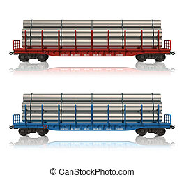 Railroad flatcars with pipes