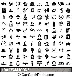 100 team icons set, simple style - 100 team icons set in...