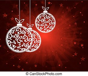 red Christmas background with balls white