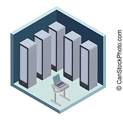 Data center icon, server room. Vector illustration in isometric projection, isolated on white.