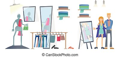 Man and woman in clothing store. Fashion store, racks of clothes. Vector illustration, isolated on white background.