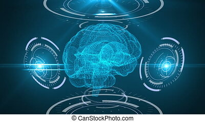 Digital scanning of the human brain. Abstract background...