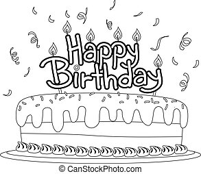Coloring Book Outlined Birthday Cake with Birthday Topper