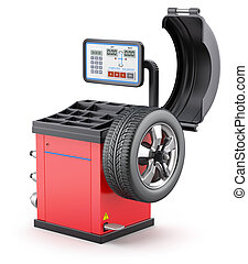 Wheel balancing machine on white background - 3D...