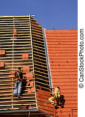 Roofing construction works - Roof construction work Workers...