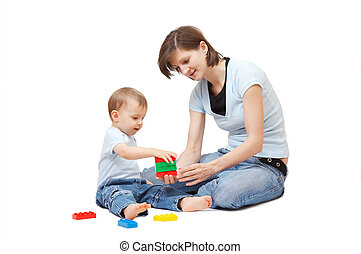 son playing with mother