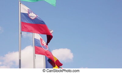 European Union countries flags waving row