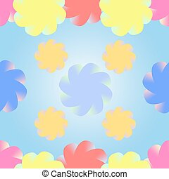 Stylized multicolored flowers on a gradient blue background. Seamless vector pattern.