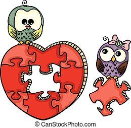 Cute owls with heart shaped puzzle
