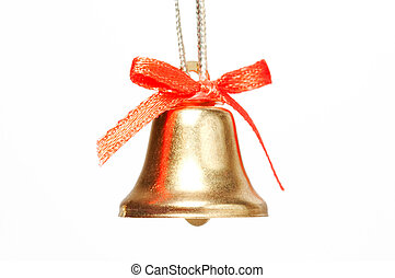 handbell with red ribbon