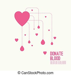 Abstract background with heart and dotted lines. blood...