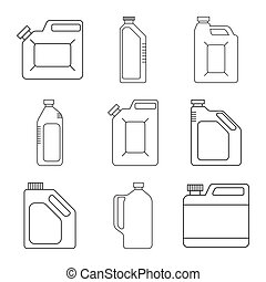 Blank Plastic Canisters. Modern thin line icons set. outline...