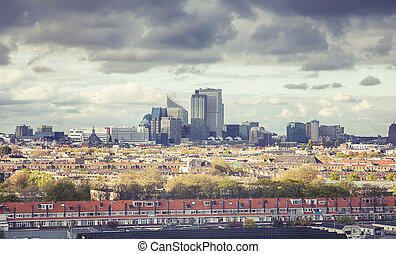 panorama of the Hague modern city from a  roof