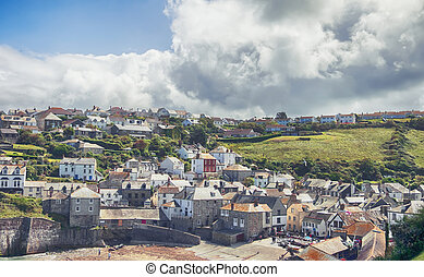 view at village Port Isaac, Cornwall - view at old village...