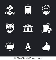 Vector Set of Gladiator Arena Icons. - Gladiator, standard,...