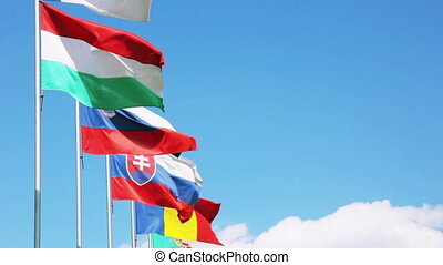 European Union countries flags waving