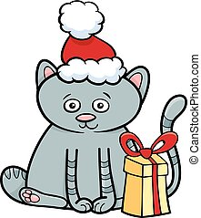 kitten with gift on Christmas time - Cartoon Illustration of...