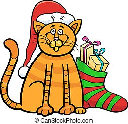 cat with gifts on Christmas time - Cartoon Illustration of...