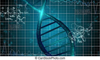 Abstract DNA Strand with science grid background and...