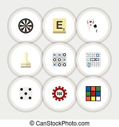 Flat Icon Play Set Of Mahjong, Sea Fight, Poker And Other...