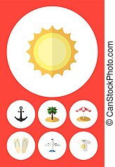 Flat Icon Summer Set Of Beach Sandals , Parasol, Coconut Vector Objects. Also Includes Plane, Sunrise, Coconut Elements.