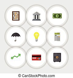 Flat Icon Finance Set Of Greenback, Bank, Bubl And Other...