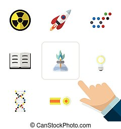 Flat Icon Knowledge Set Of Chemical, Spaceship, Molecule And...