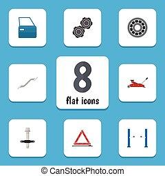 Flat Icon Workshop Set Of Warning, Belt, Brake Disk And...