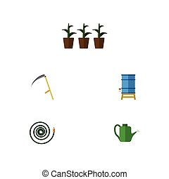 Flat Icon Farm Set Of Hosepipe, Flowerpot, Bailer And Other...