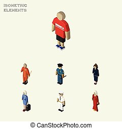 Isometric People Set Of Hostess, Guy, Businesswoman And...
