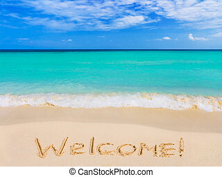 Word Welcome on beach, vacation concept background