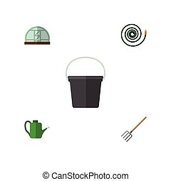 Flat Icon Dacha Set Of Pail, Hosepipe, Bailer And Other...