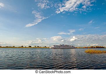 hermoso, verano, Cama, ocaso, curva, barco, río, verano, vista