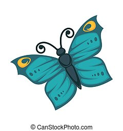 Amazing blue butterfly with yellow pattern and curled...