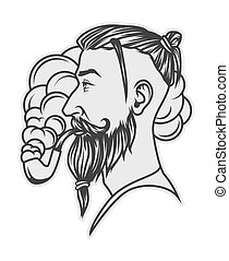 Hipster with beard and undercut hairstyle smoking tube...