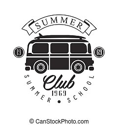 Summer club since 1965, summer school logo template, black...