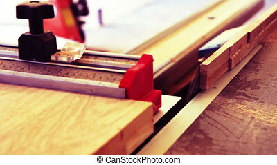 wood cutting in a carpentry workshop of a furniture factory...