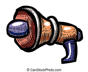 Cartoon image of Megaphone Icon. Speaker symbol. An artistic...