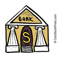 Cartoon image of Bank Icon. Government symbol