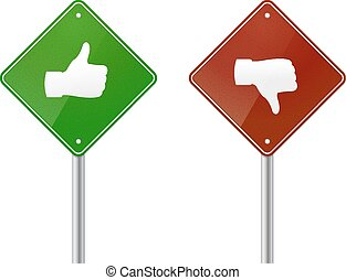 Right and Wrong - Red and green road sign with thumb up and...