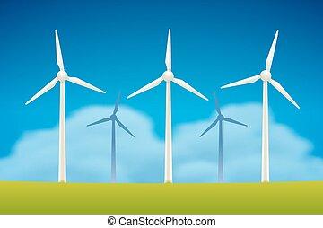 WInd Generators - Wind Generators in field vector...