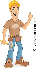 Contractor - Happy male contractor holding hammer and...