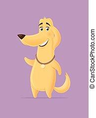 Golden retriever dog vector cartoon illustration