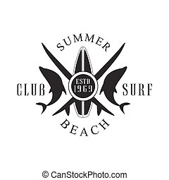 Summer beach surf club logo template, black and white vector...