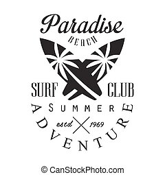 Summer adventure surf club estd 1969, paradise beach logo...