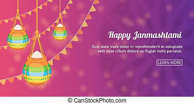 Happy Janmashtami banner horizontal, cartoon style - Happy...